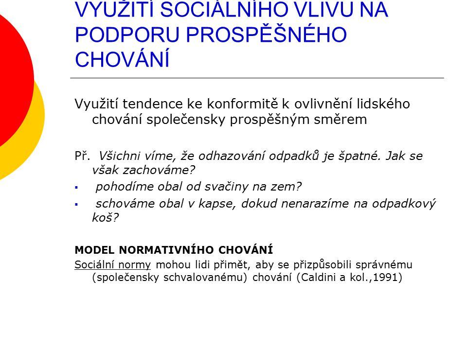 VYUŽITÍ SOCIÁLNÍHO VLIVU NA PODPORU PROSPĚŠNÉHO CHOVÁNÍ Využití tendence ke konformitě k ovlivnění lidského chování společensky prospěšným směrem Př.
