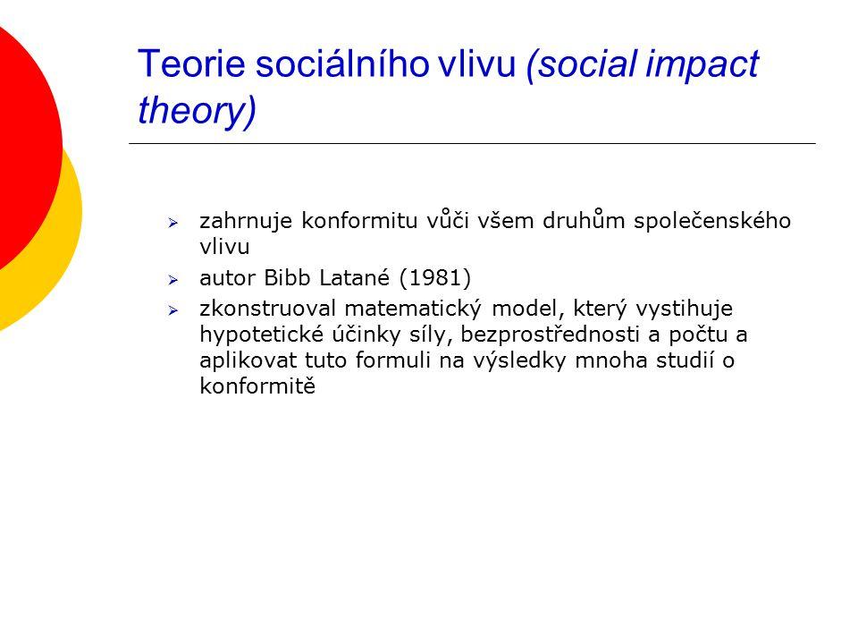 Teorie sociálního vlivu (social impact theory)  zahrnuje konformitu vůči všem druhům společenského vlivu  autor Bibb Latané (1981)  zkonstruoval matematický model, který vystihuje hypotetické účinky síly, bezprostřednosti a počtu a aplikovat tuto formuli na výsledky mnoha studií o konformitě