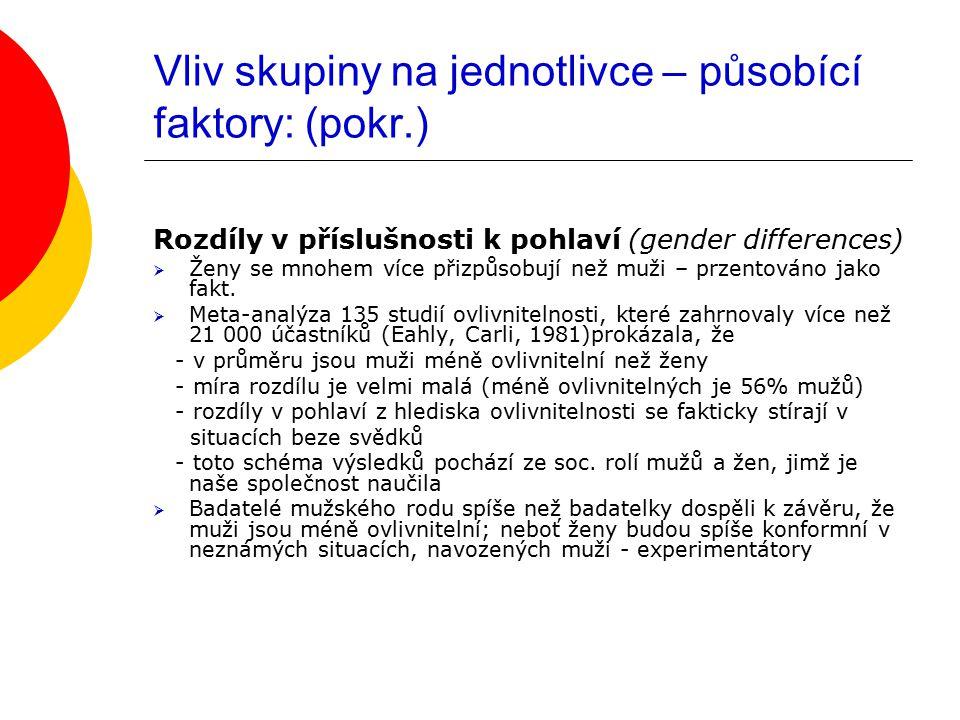 Vliv skupiny na jednotlivce – působící faktory: (pokr.) Rozdíly v příslušnosti k pohlaví (gender differences)  Ženy se mnohem více přizpůsobují než m