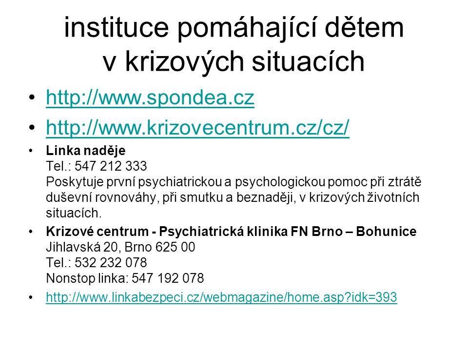 instituce pomáhající dětem v krizových situacích http://www.spondea.cz http://www.krizovecentrum.cz/cz/ Linka naděje Tel.: 547 212 333 Poskytuje první