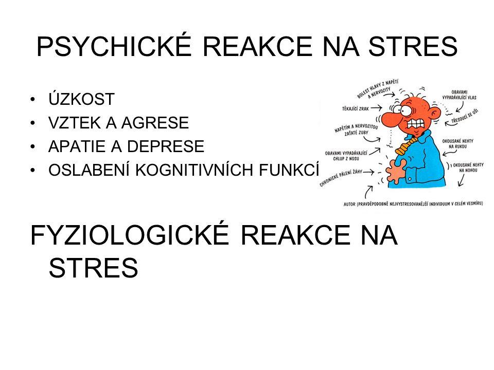 PSYCHICKÉ REAKCE NA STRES ÚZKOST VZTEK A AGRESE APATIE A DEPRESE OSLABENÍ KOGNITIVNÍCH FUNKCÍ FYZIOLOGICKÉ REAKCE NA STRES