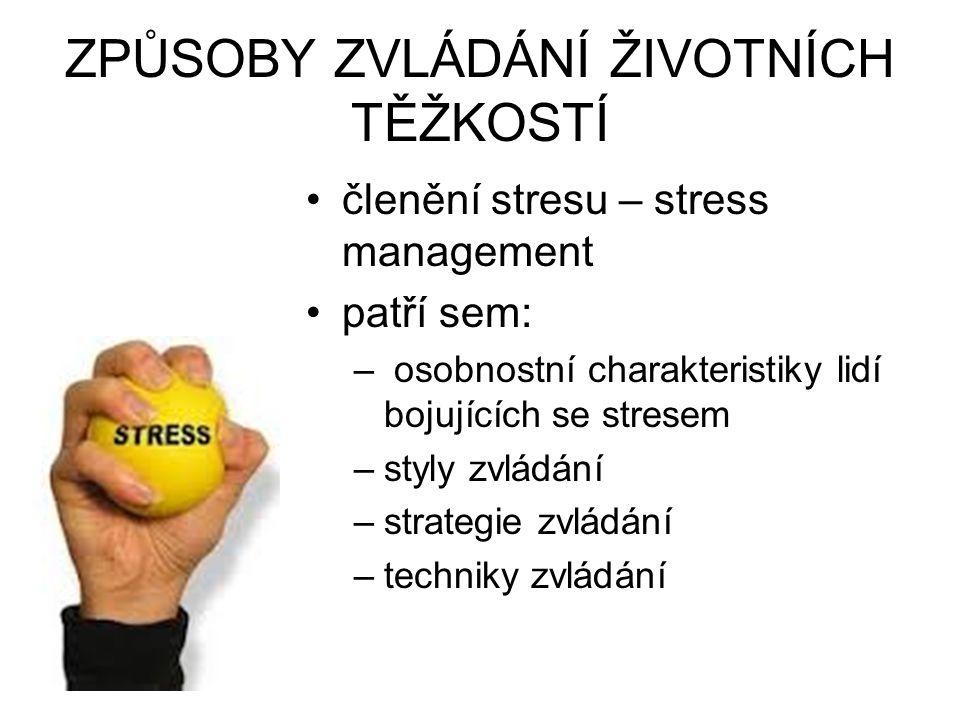 ZPŮSOBY ZVLÁDÁNÍ ŽIVOTNÍCH TĚŽKOSTÍ členění stresu – stress management patří sem: – osobnostní charakteristiky lidí bojujících se stresem –styly zvlád