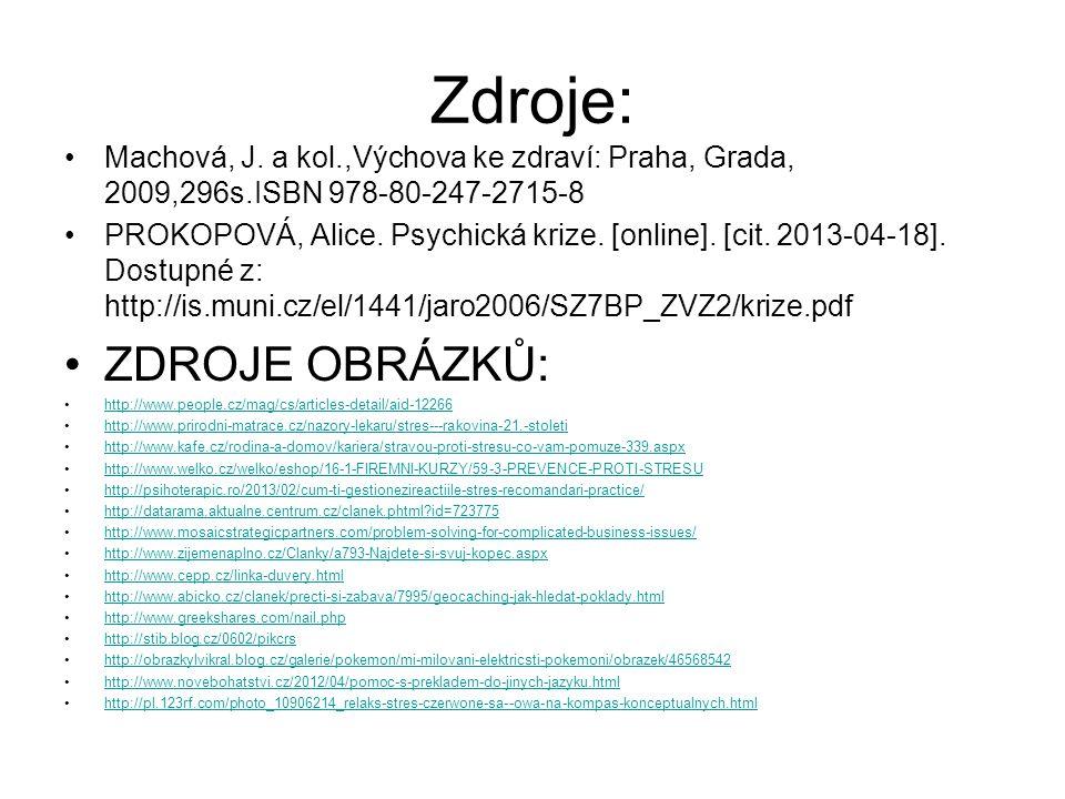 Zdroje: Machová, J. a kol.,Výchova ke zdraví: Praha, Grada, 2009,296s.ISBN 978-80-247-2715-8 PROKOPOVÁ, Alice. Psychická krize. [online]. [cit. 2013-0
