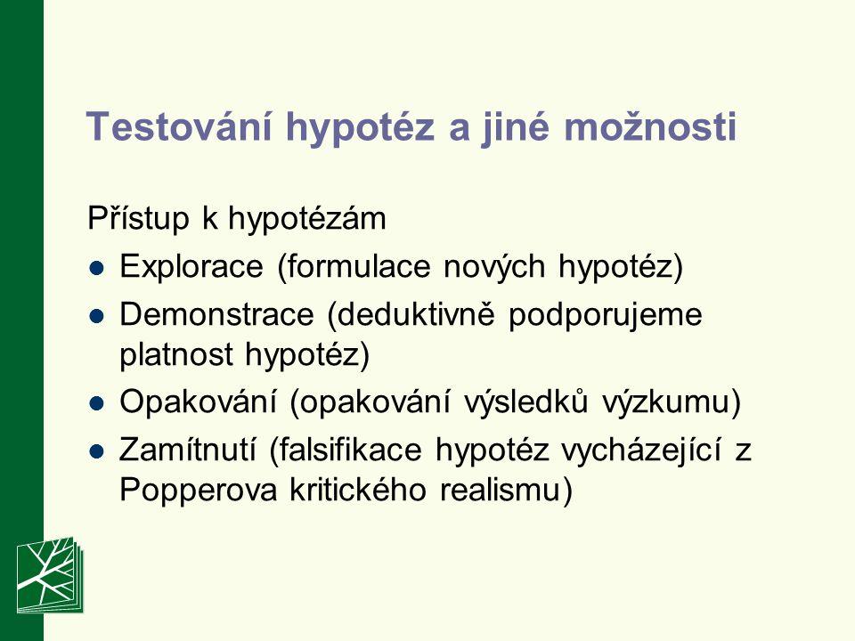 Testování hypotéz a jiné možnosti Přístup k hypotézám Explorace (formulace nových hypotéz) Demonstrace (deduktivně podporujeme platnost hypotéz) Opakování (opakování výsledků výzkumu) Zamítnutí (falsifikace hypotéz vycházející z Popperova kritického realismu)