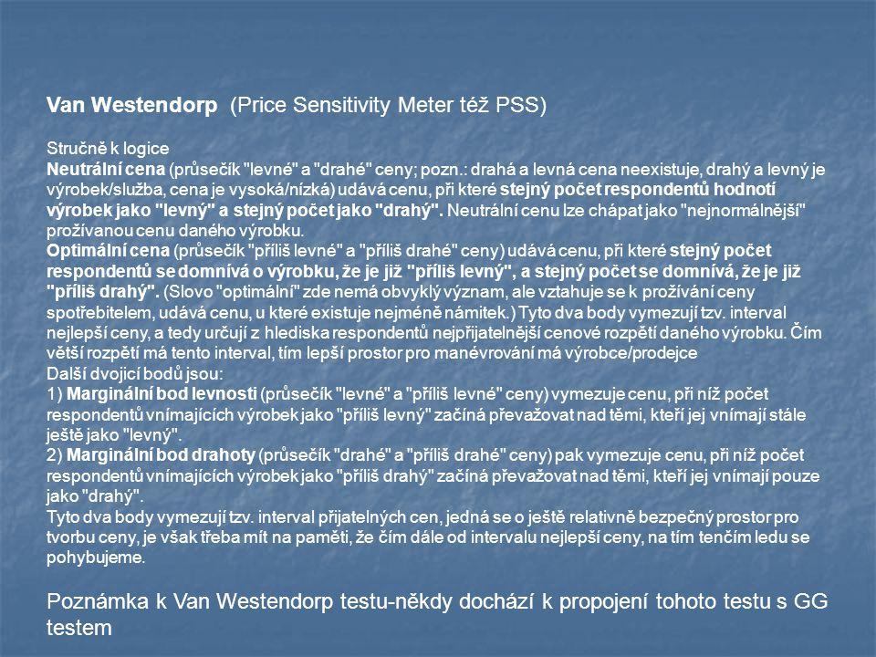 Van Westendorp (Price Sensitivity Meter též PSS) Stručně k logice Neutrální cena (průsečík