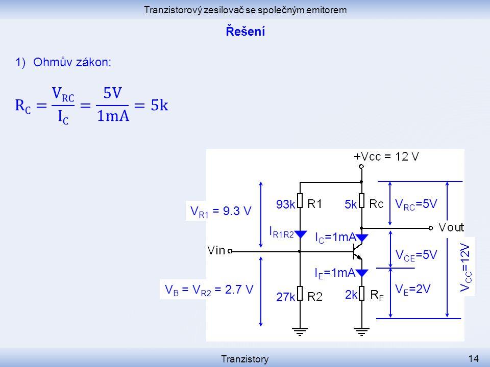 Tranzistorový zesilovač se společným emitorem Tranzistory 14 I C =1mA I R1R2 V E =2V V CE =5V RERE I E =1mA V B = V R2 = 2.7 V 2k 27k V R1 = 9.3 V 93k5k V RC =5V V CC =12V