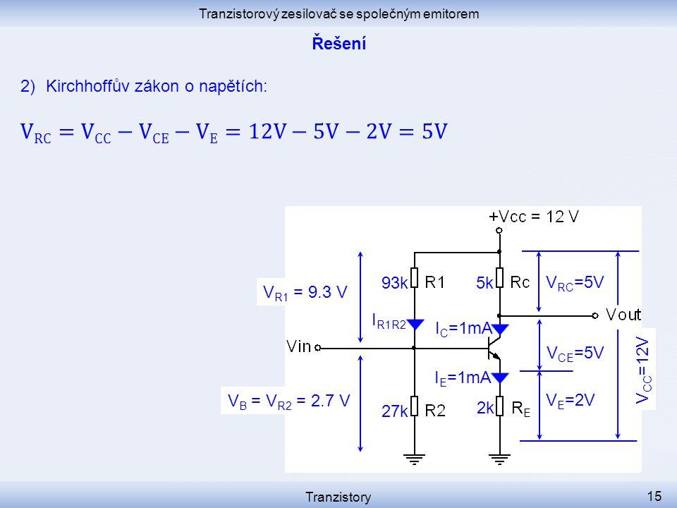 Tranzistorový zesilovač se společným emitorem Tranzistory 15 I C =1mA I R1R2 V E =2V V CE =5V RERE I E =1mA V B = V R2 = 2.7 V 2k 27k V R1 = 9.3 V 93k5k V RC =5V V CC =12V
