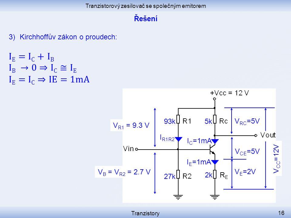 Tranzistorový zesilovač se společným emitorem Tranzistory 16 I C =1mA I R1R2 V E =2V V CE =5V RERE I E =1mA V B = V R2 = 2.7 V 2k 27k V R1 = 9.3 V 93k5k V RC =5V V CC =12V