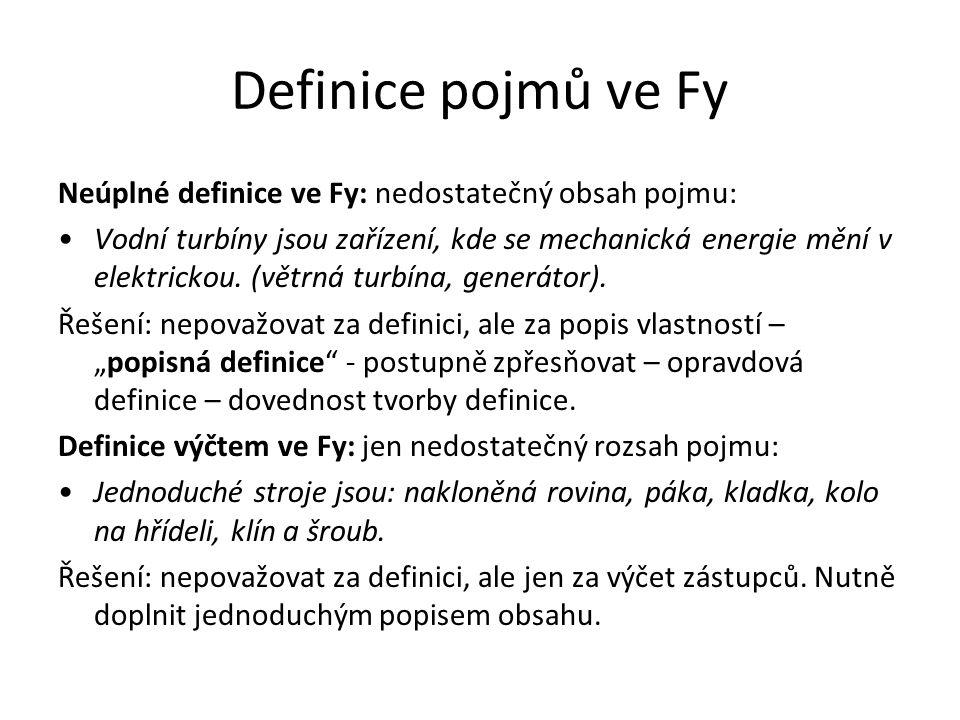 Definice pojmů ve Fy Neúplné definice ve Fy: nedostatečný obsah pojmu: Vodní turbíny jsou zařízení, kde se mechanická energie mění v elektrickou. (vět