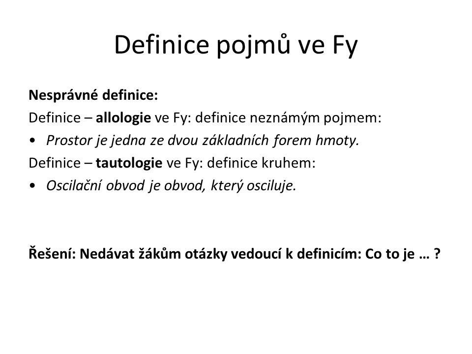 Definice pojmů ve Fy Nesprávné definice: Definice – allologie ve Fy: definice neznámým pojmem: Prostor je jedna ze dvou základních forem hmoty. Defini