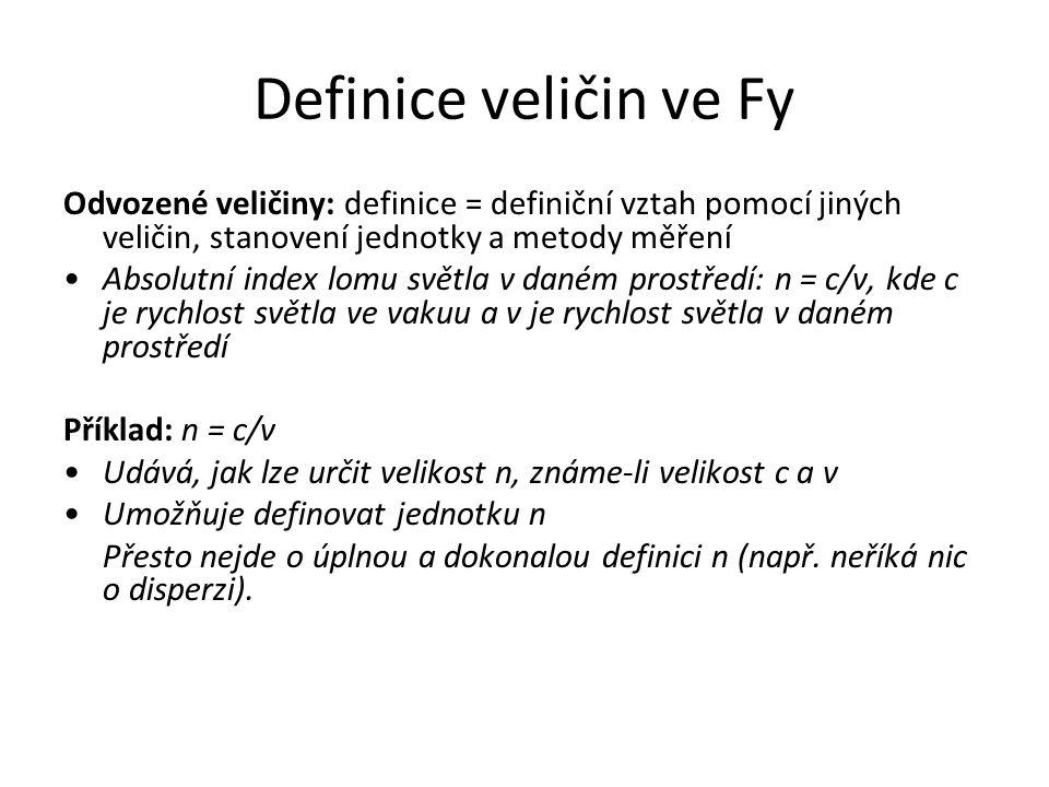 Definice veličin ve Fy Odvozené veličiny: definice = definiční vztah pomocí jiných veličin, stanovení jednotky a metody měření Absolutní index lomu sv