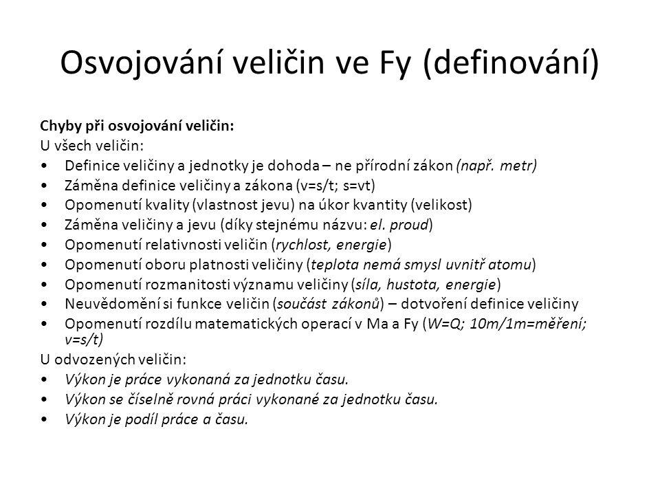 Osvojování veličin ve Fy (definování) Chyby při osvojování veličin: U všech veličin: Definice veličiny a jednotky je dohoda – ne přírodní zákon (např.