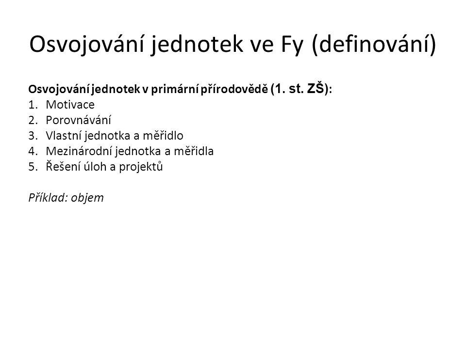 Osvojování jednotek ve Fy (definování) Osvojování jednotek v primární přírodovědě (1. st. ZŠ) : 1.Motivace 2.Porovnávání 3.Vlastní jednotka a měřidlo