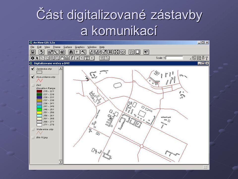 Část digitalizované zástavby a komunikací