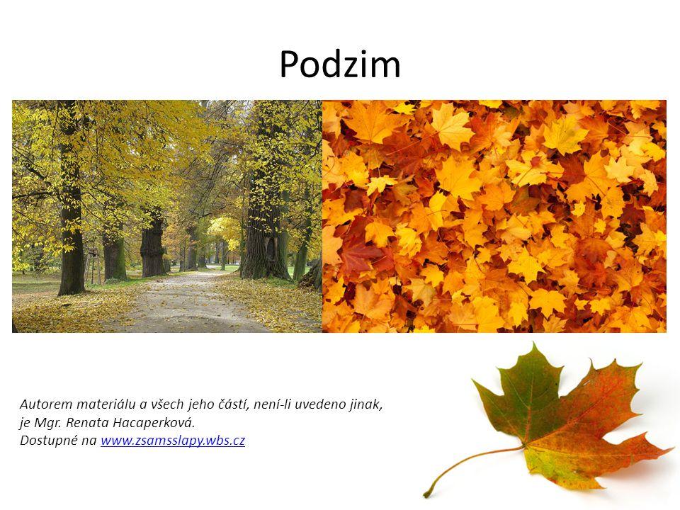 Podzim Autorem materiálu a všech jeho částí, není-li uvedeno jinak, je Mgr.