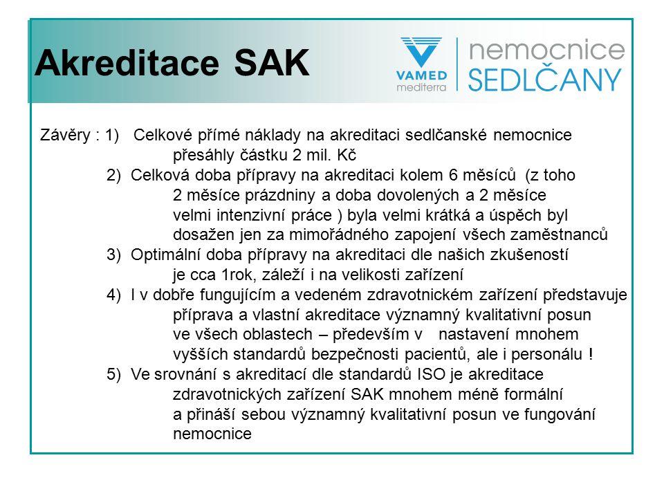 Akreditace SAK Závěry : 1) Celkové přímé náklady na akreditaci sedlčanské nemocnice přesáhly částku 2 mil. Kč 2) Celková doba přípravy na akreditaci k
