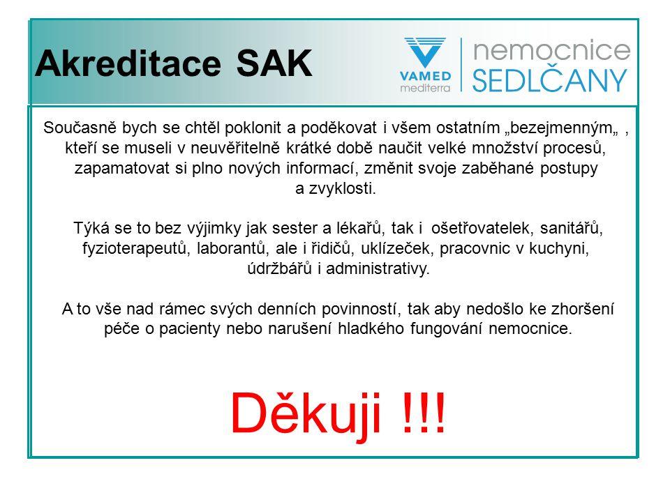 Akreditace SAK Vlastní akreditace z pohledu provozního ředitele nemocnice: Předakreditační šetření proběhlo ve dnech 18.