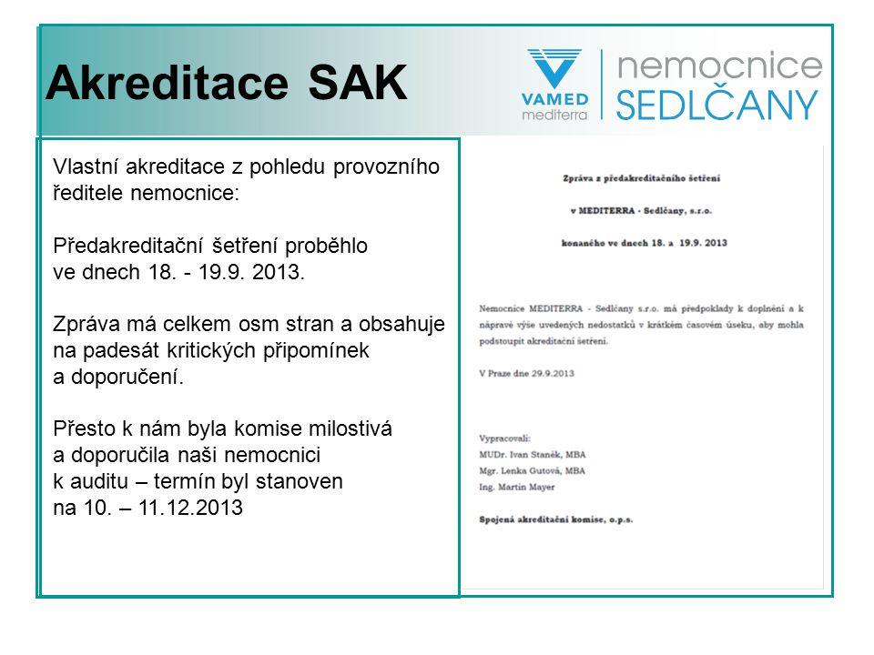 Akreditace SAK Vlastní akreditace z pohledu provozního ředitele nemocnice: Předakreditační šetření proběhlo ve dnech 18. - 19.9. 2013. Zpráva má celke