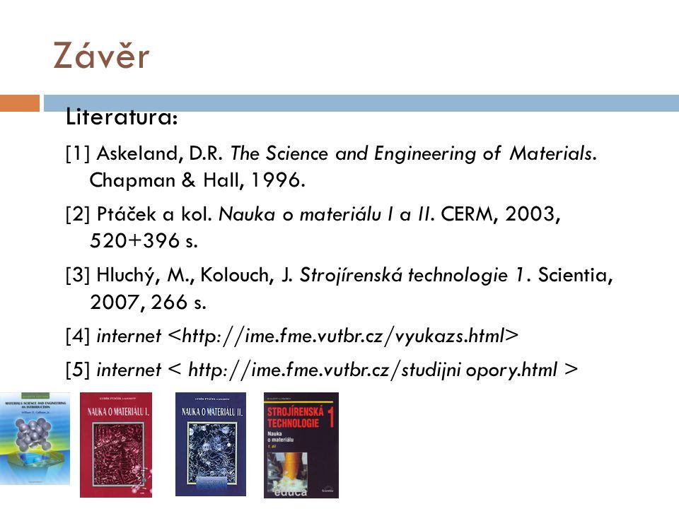 Závěr Literatura: [1] Askeland, D.R. The Science and Engineering of Materials. Chapman & Hall, 1996. [2] Ptáček a kol. Nauka o materiálu I a II. CERM,