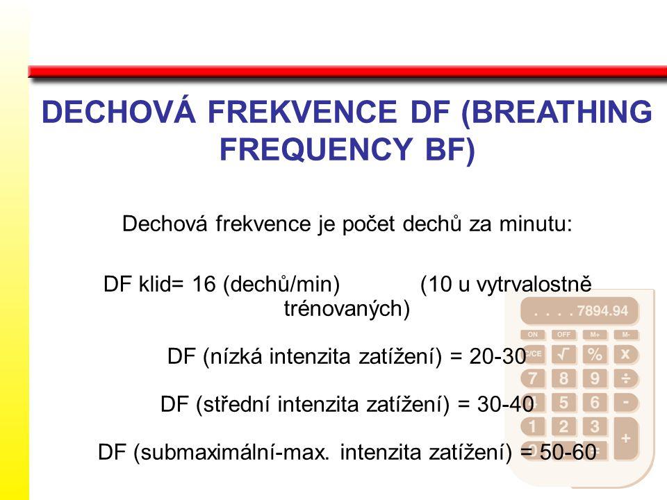 DECHOVÁ FREKVENCE DF (BREATHING FREQUENCY BF) Dechová frekvence je počet dechů za minutu: DF klid= 16 (dechů/min) (10 u vytrvalostně trénovaných) DF (