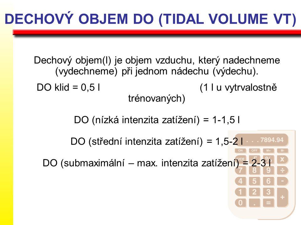 DECHOVÝ OBJEM DO (TIDAL VOLUME VT) Dechový objem(l) je objem vzduchu, který nadechneme (vydechneme) při jednom nádechu (výdechu). DO klid = 0,5 l (1 l