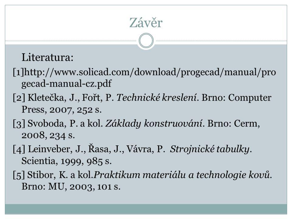 Závěr Literatura: [1]http://www.solicad.com/download/progecad/manual/pro gecad-manual-cz.pdf [2] Kletečka, J., Fořt, P. Technické kreslení. Brno: Comp