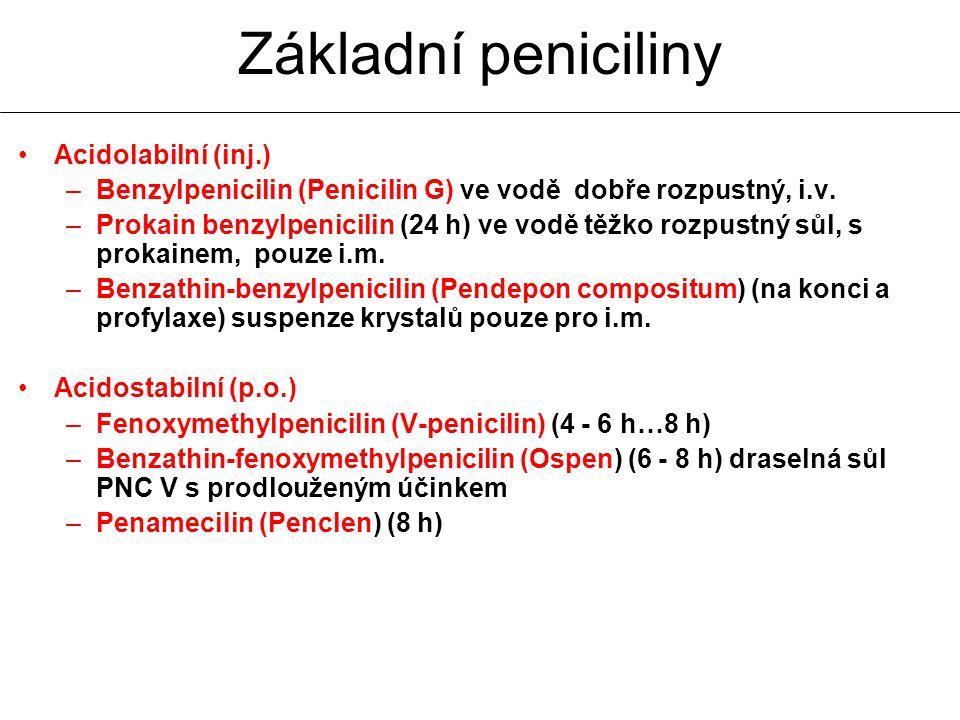 Acidolabilní (inj.) –Benzylpenicilin (Penicilin G) ve vodě dobře rozpustný, i.v. –Prokain benzylpenicilin (24 h) ve vodě těžko rozpustný sůl, s prokai