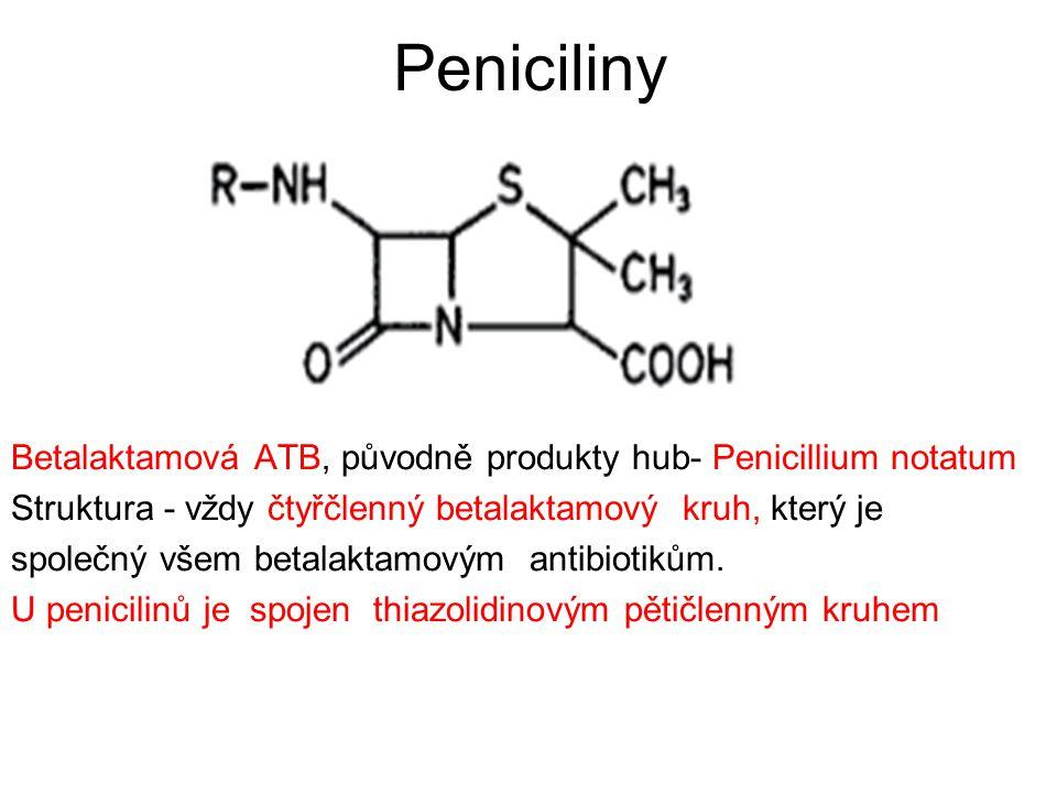 Aminopeniciliny -nežádoucí účinky GIT: 2-10%: nauzea, zvracení, průjem (AMP: postATB kolitida u 0,5% pac.) alergie: méně pravých alergií než PEN, ale více exantémů (5% léčených) toxické:  dávce; obv.