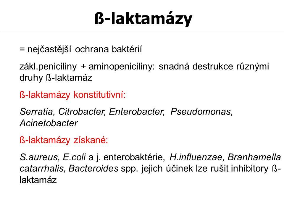 ß-laktamázy = nejčastější ochrana baktérií zákl.peniciliny + aminopeniciliny: snadná destrukce různými druhy ß-laktamáz ß-laktamázy konstitutivní: Ser