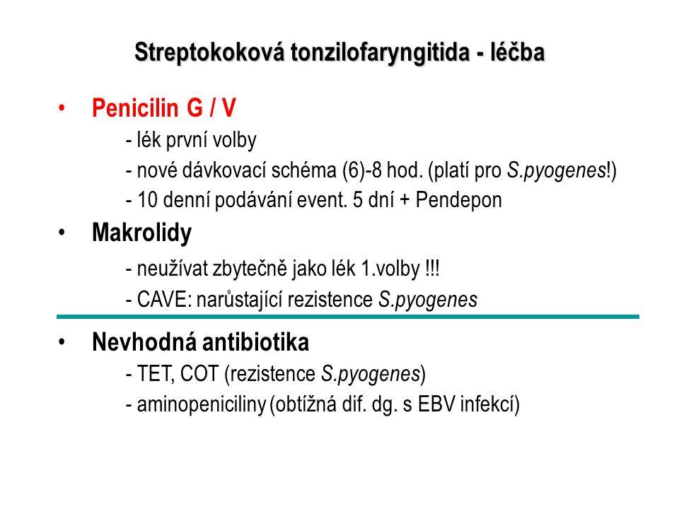 Streptokoková tonzilofaryngitida - léčba Penicilin G / V - lék první volby - nové dávkovací schéma (6)-8 hod. (platí pro S.pyogenes !) - 10 denní podá