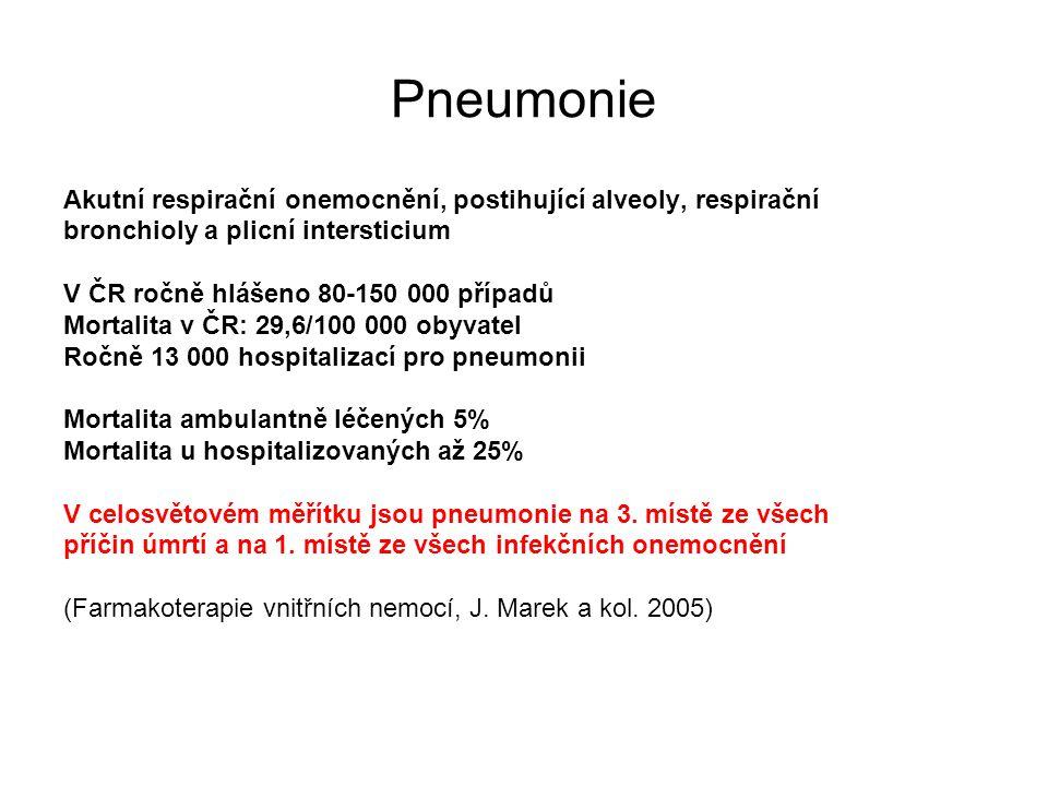 Pneumonie Akutní respirační onemocnění, postihující alveoly, respirační bronchioly a plicní intersticium V ČR ročně hlášeno 80-150 000 případů Mortali