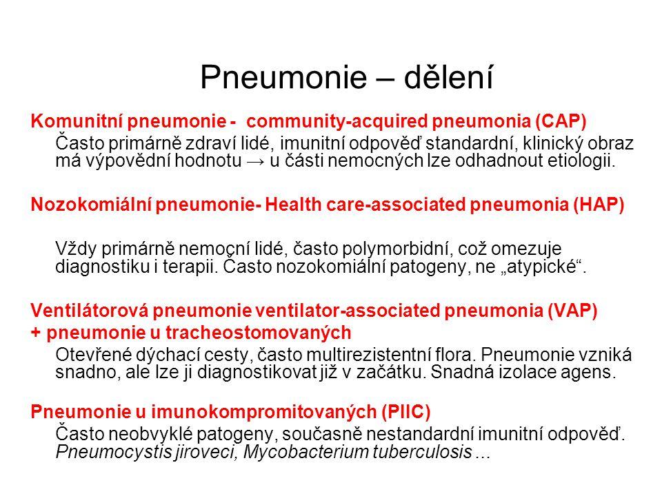 Pneumonie – dělení Komunitní pneumonie - community-acquired pneumonia (CAP) Často primárně zdraví lidé, imunitní odpověď standardní, klinický obraz má
