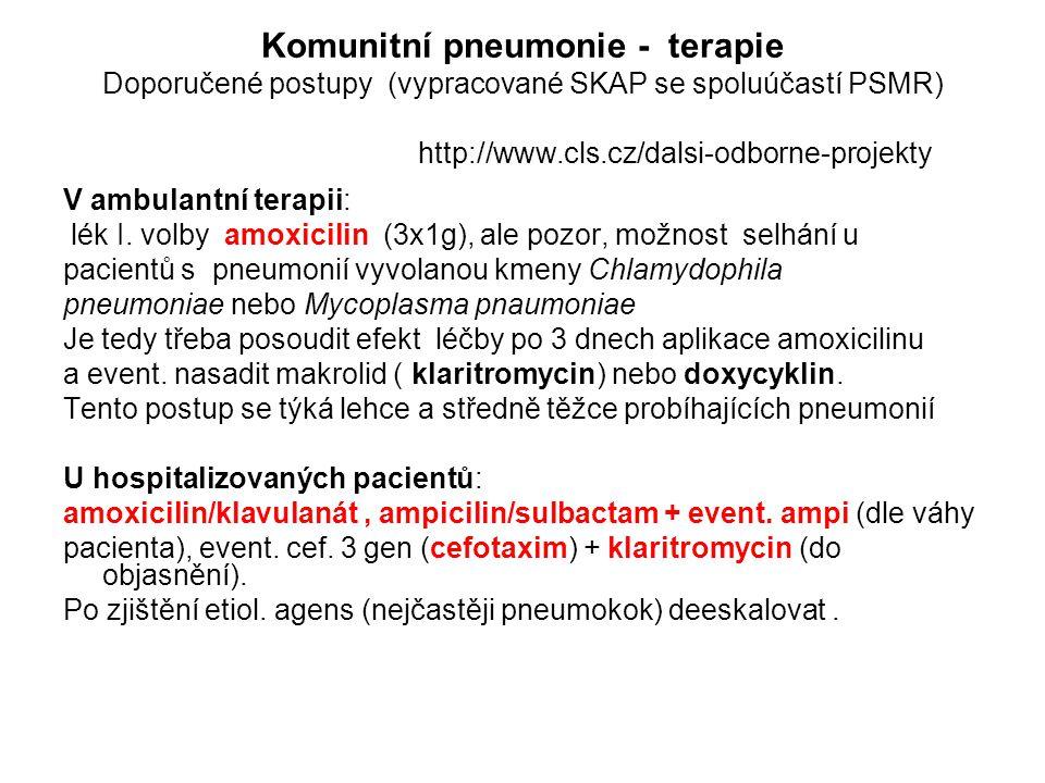 Komunitní pneumonie - terapie Doporučené postupy (vypracované SKAP se spoluúčastí PSMR) http://www.cls.cz/dalsi-odborne-projekty V ambulantní terapii: