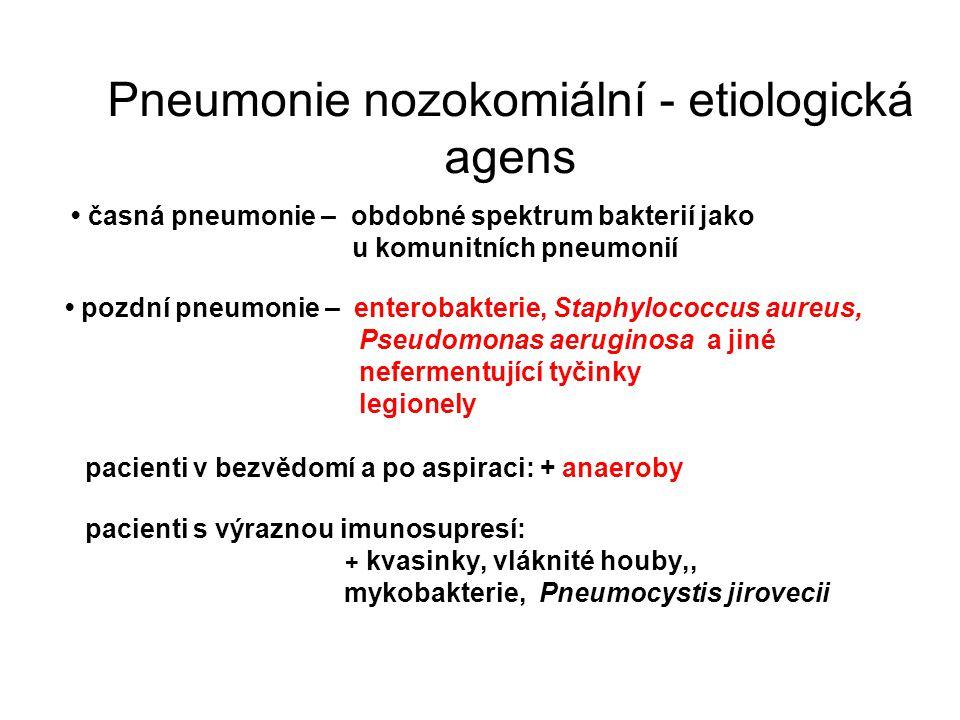 Pneumonie nozokomiální - etiologická agens časná pneumonie – obdobné spektrum bakterií jako u komunitních pneumonií pozdní pneumonie – enterobakterie,
