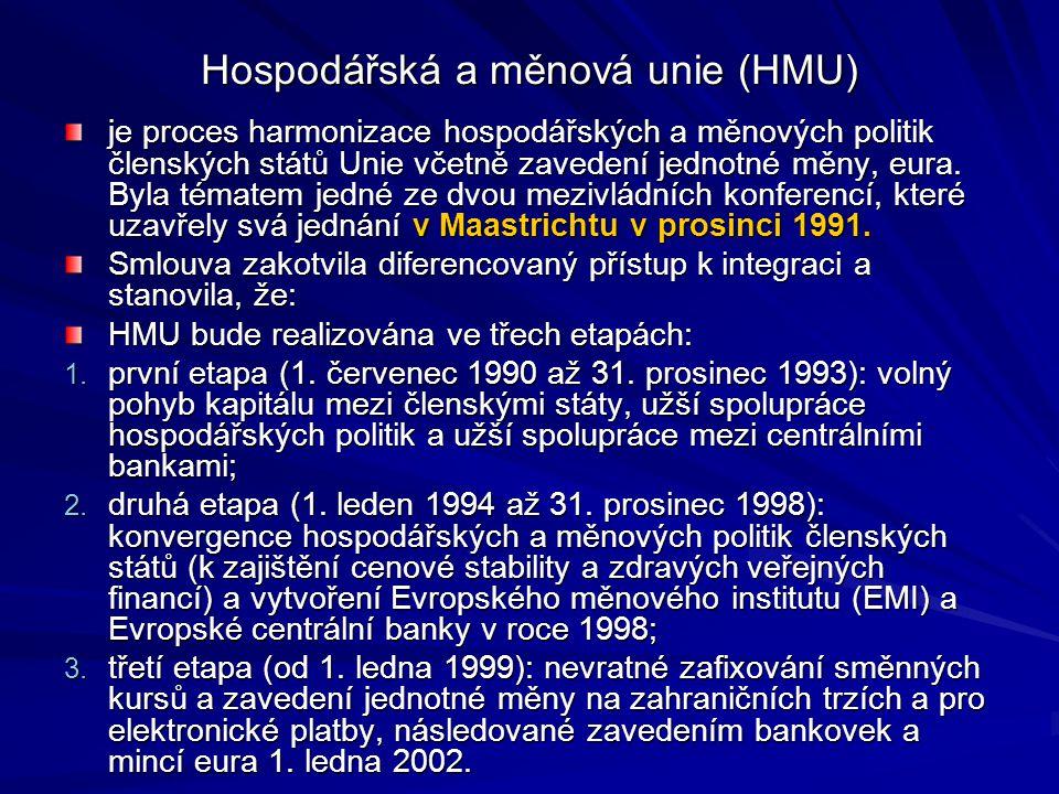 Hospodářská a měnová unie (HMU) je proces harmonizace hospodářských a měnových politik členských států Unie včetně zavedení jednotné měny, eura.