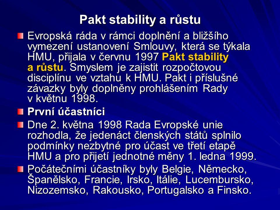 Pakt stability a růstu Evropská ráda v rámci doplnění a bližšího vymezení ustanovení Smlouvy, která se týkala HMU, přijala v červnu 1997 Pakt stability a růstu.
