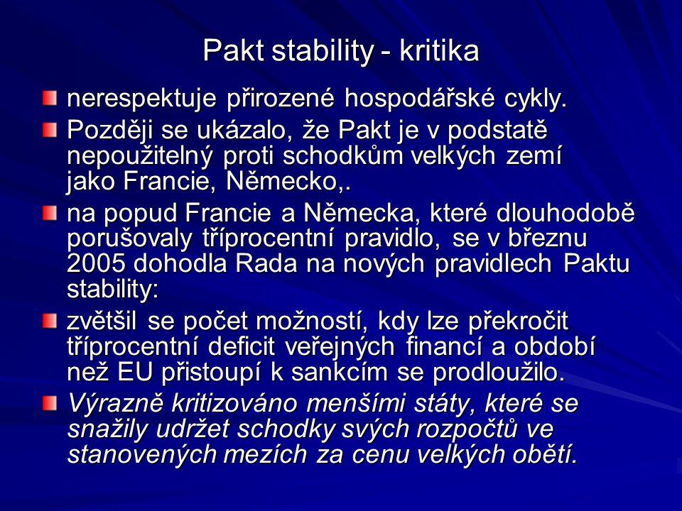 Pakt stability - kritika nerespektuje přirozené hospodářské cykly.