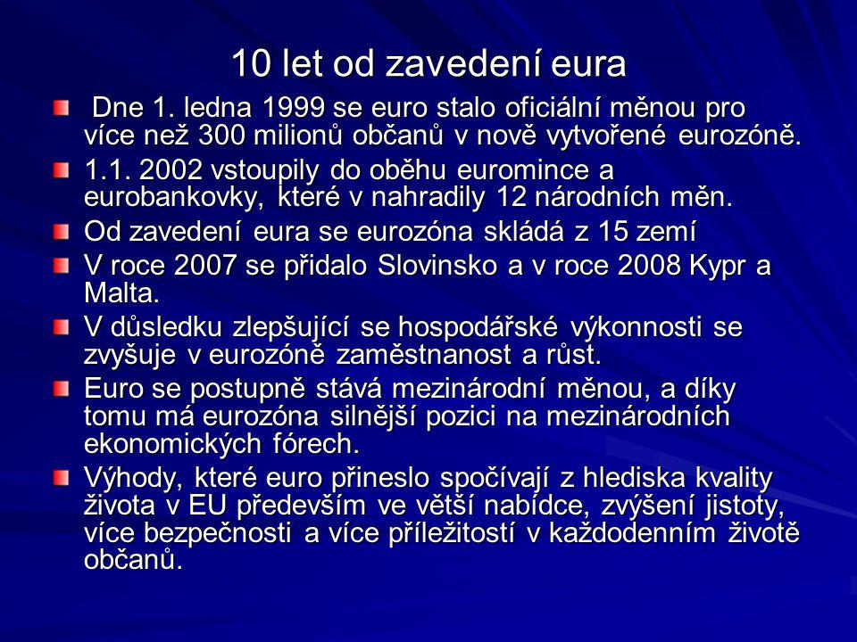 10 let od zavedení eura Dne 1.