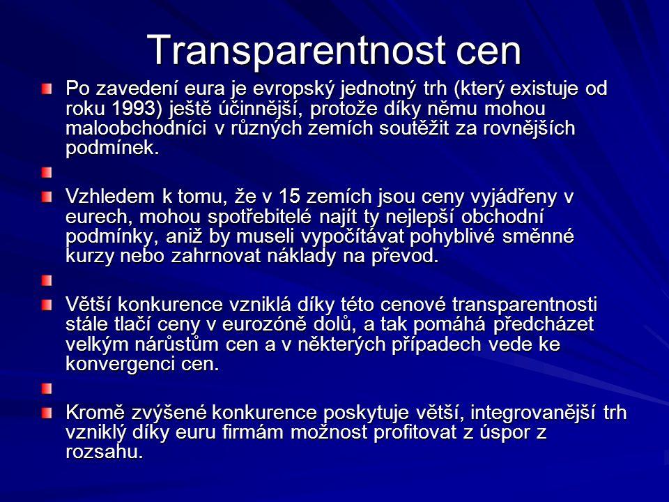 Transparentnost cen Po zavedení eura je evropský jednotný trh (který existuje od roku 1993) ještě účinnější, protože díky němu mohou maloobchodníci v různých zemích soutěžit za rovnějších podmínek.