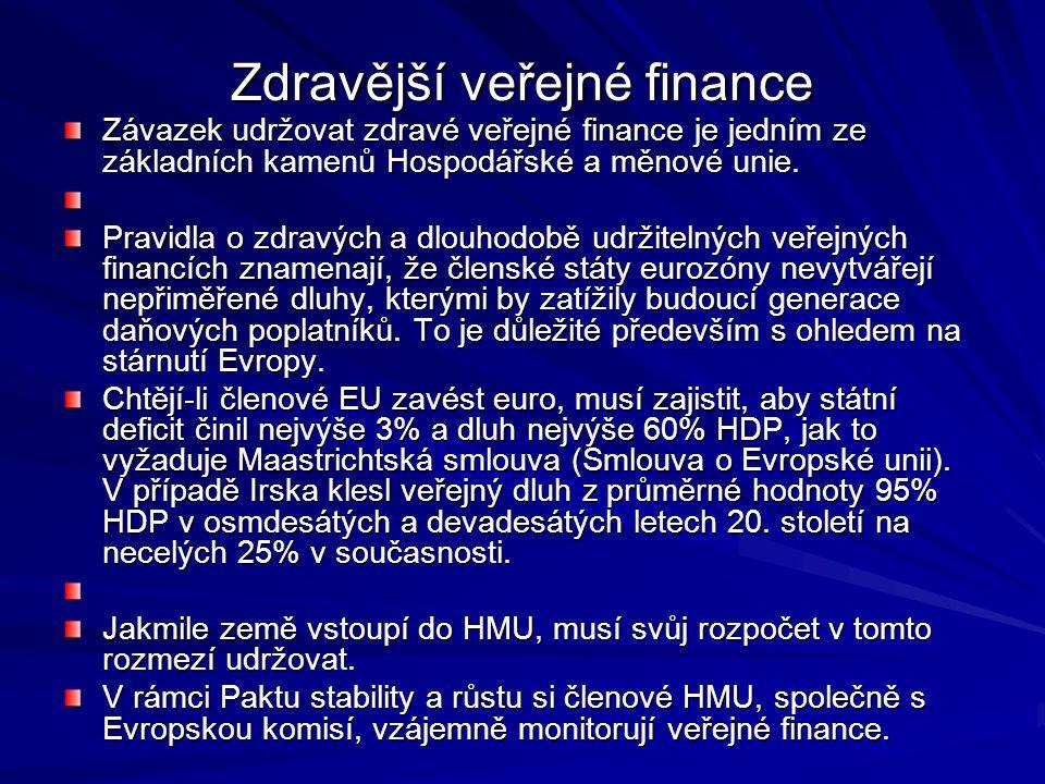 Zdravější veřejné finance Závazek udržovat zdravé veřejné finance je jedním ze základních kamenů Hospodářské a měnové unie.