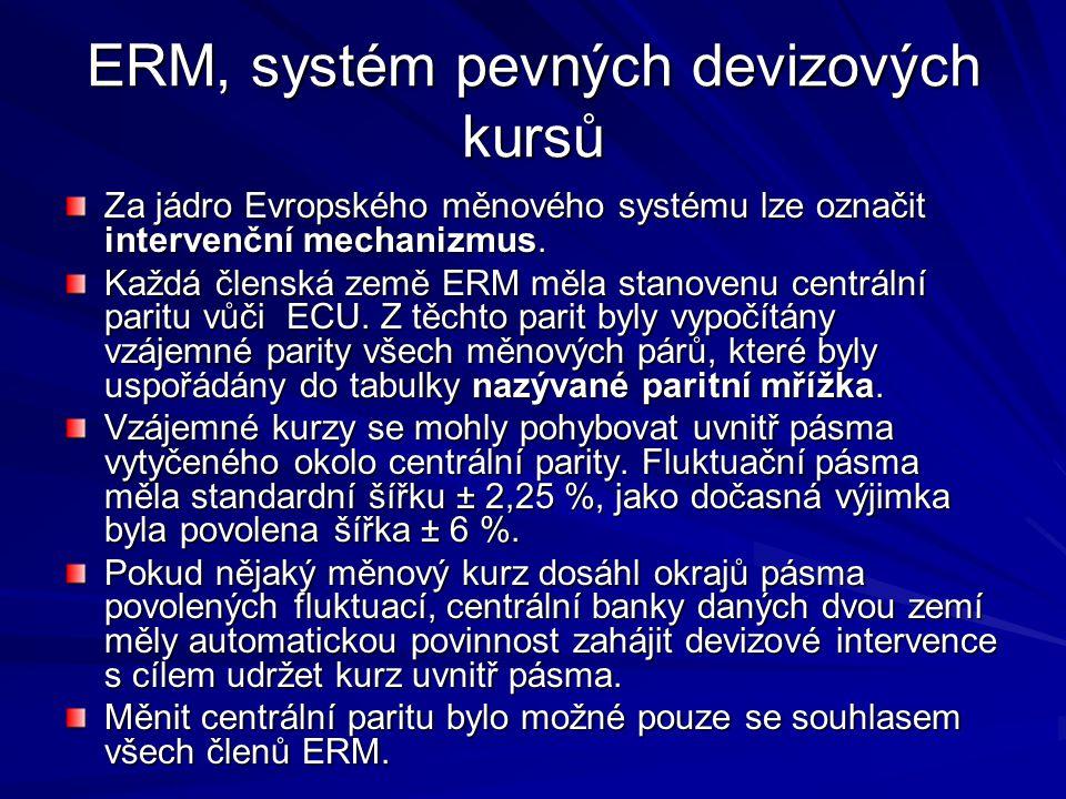 ERM, systém pevných devizových kursů Za jádro Evropského měnového systému lze označit intervenční mechanizmus.