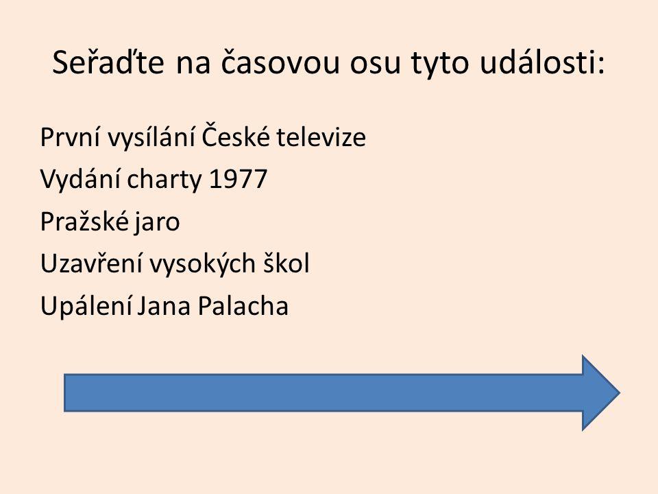 Seřaďte na časovou osu tyto události: První vysílání České televize Vydání charty 1977 Pražské jaro Uzavření vysokých škol Upálení Jana Palacha