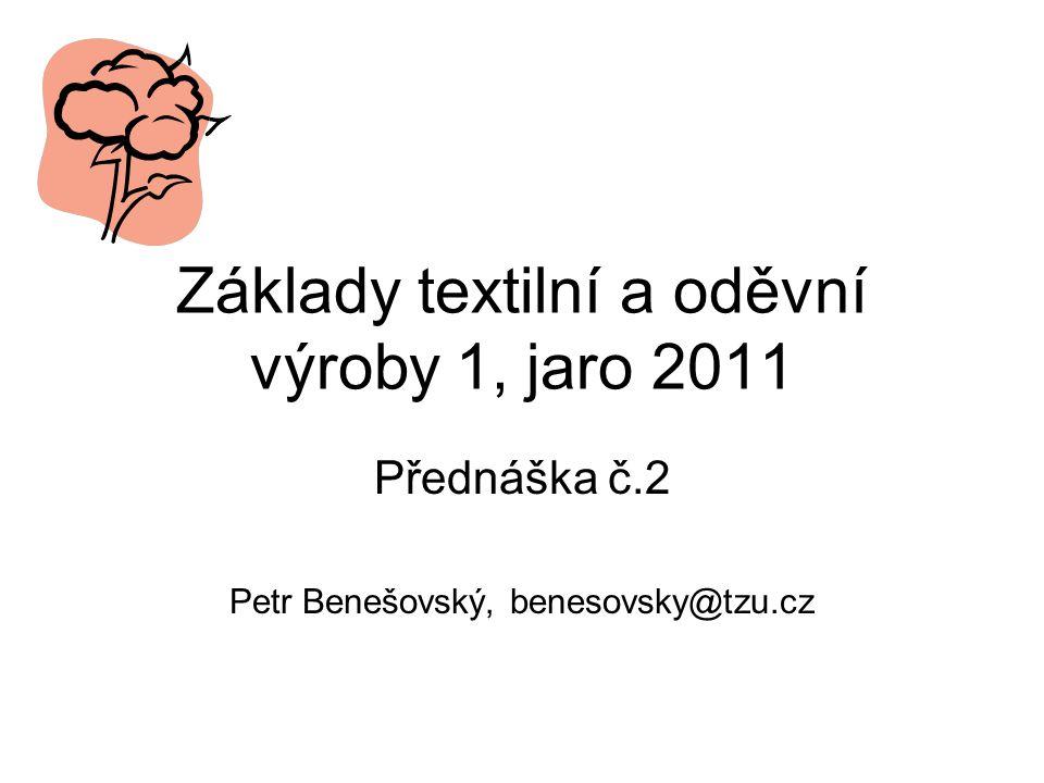 Základy textilní a oděvní výroby 1, jaro 2011 Přednáška č.2 Petr Benešovský, benesovsky@tzu.cz