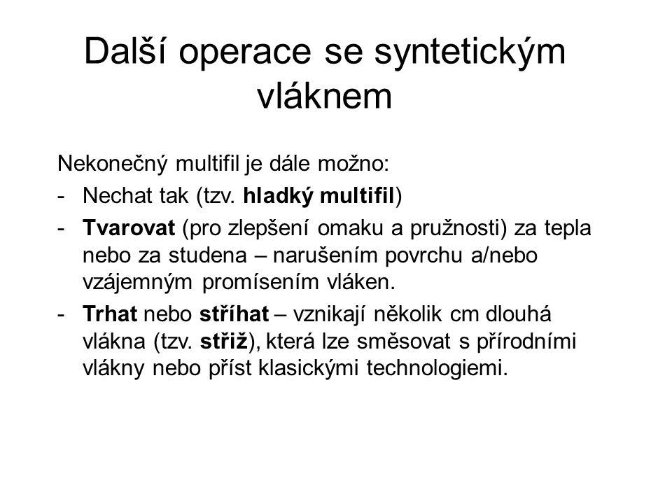Další operace se syntetickým vláknem Nekonečný multifil je dále možno: -Nechat tak (tzv.