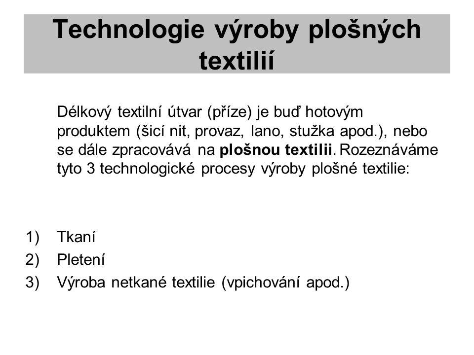 Technologie výroby plošných textilií Délkový textilní útvar (příze) je buď hotovým produktem (šicí nit, provaz, lano, stužka apod.), nebo se dále zpracovává na plošnou textilii.
