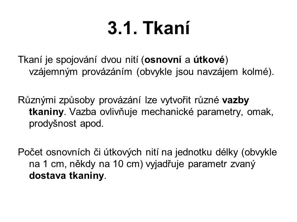 3.1. Tkaní Tkaní je spojování dvou nití (osnovní a útkové) vzájemným provázáním (obvykle jsou navzájem kolmé). Různými způsoby provázání lze vytvořit