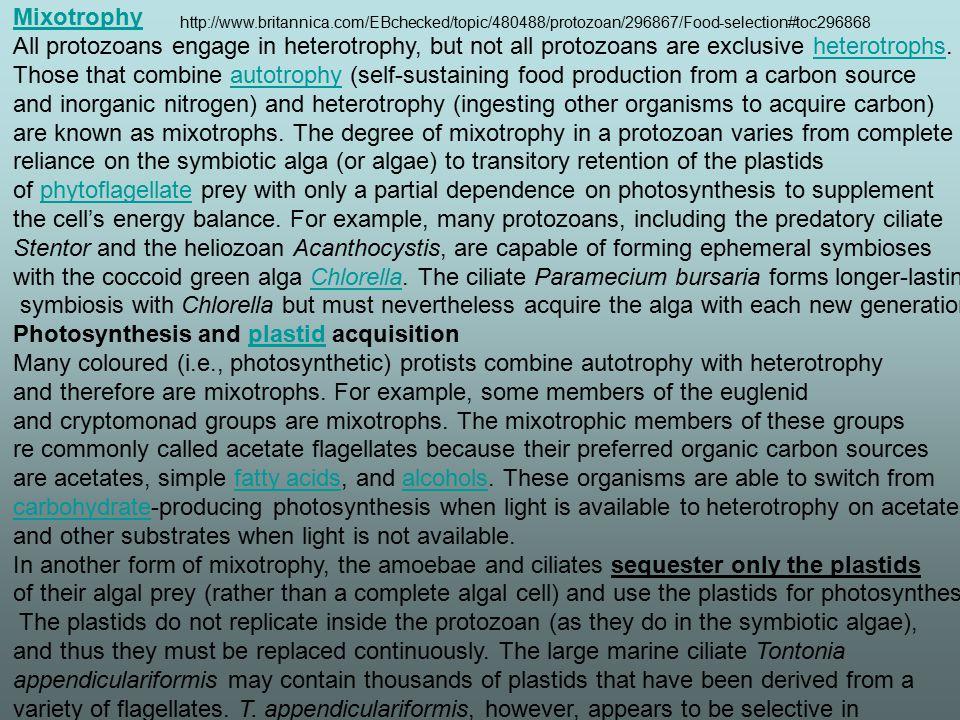 Mixotrophy All protozoans engage in heterotrophy, but not all protozoans are exclusive heterotrophs.heterotrophs Those that combine autotrophy (self-s