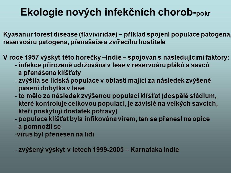 Ekologie nových infekčních chorob- pokr Kyasanur forest disease (flaviviridae) – příklad spojení populace patogena, reservoáru patogena, přenašeče a z