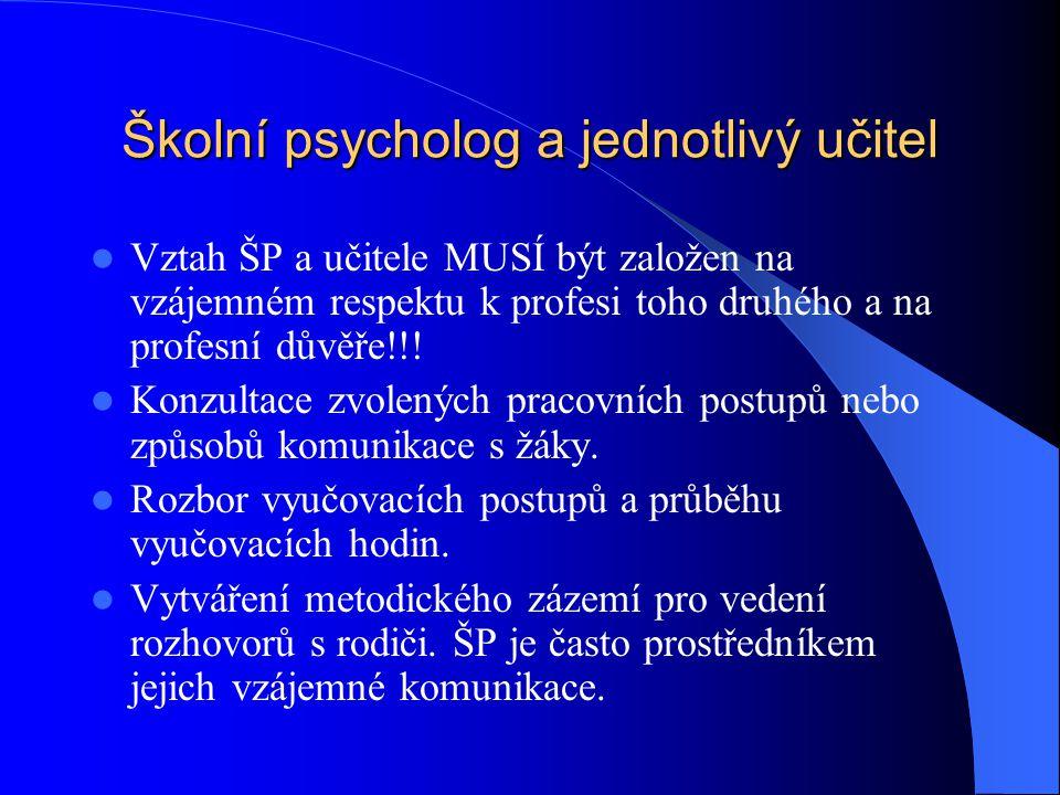 Školní psycholog a jednotlivý učitel Vztah ŠP a učitele MUSÍ být založen na vzájemném respektu k profesi toho druhého a na profesní důvěře!!! Konzulta