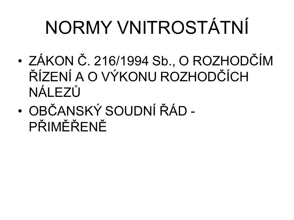 NORMY VNITROSTÁTNÍ ZÁKON Č.